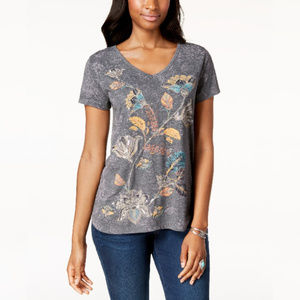 Style & Co Printed V-Neck T-Shirt